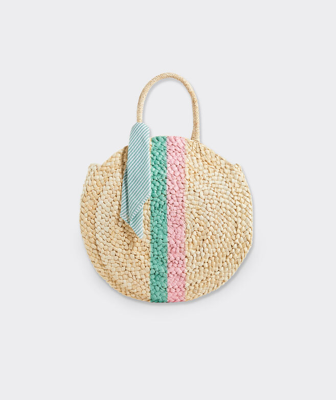 Printed Stripe Woven Straw Circle Tote