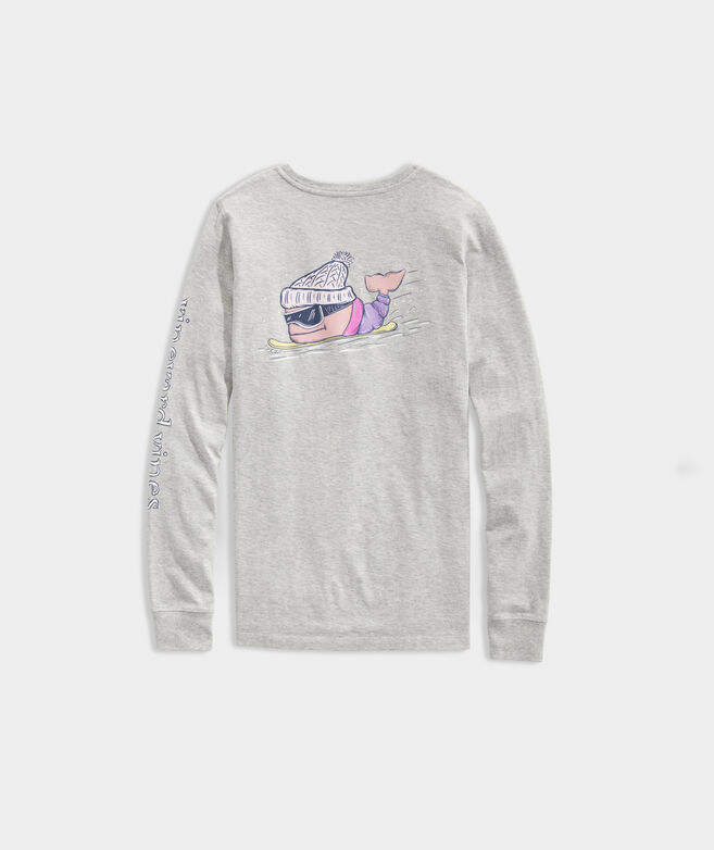 Snowboard Whale Long-Sleeve Pocket Tee
