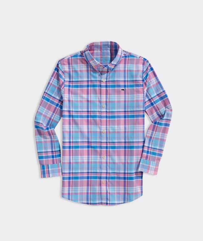 Boys' Plaid On-The-Go Performance Whale Shirt