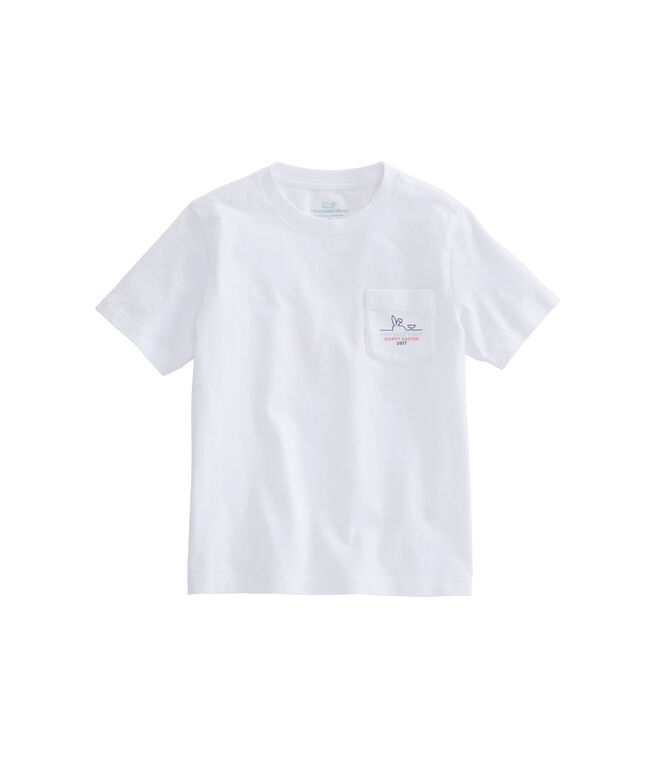 Boys Happy Easter 2017 Whale Line Pocket T-Shirt
