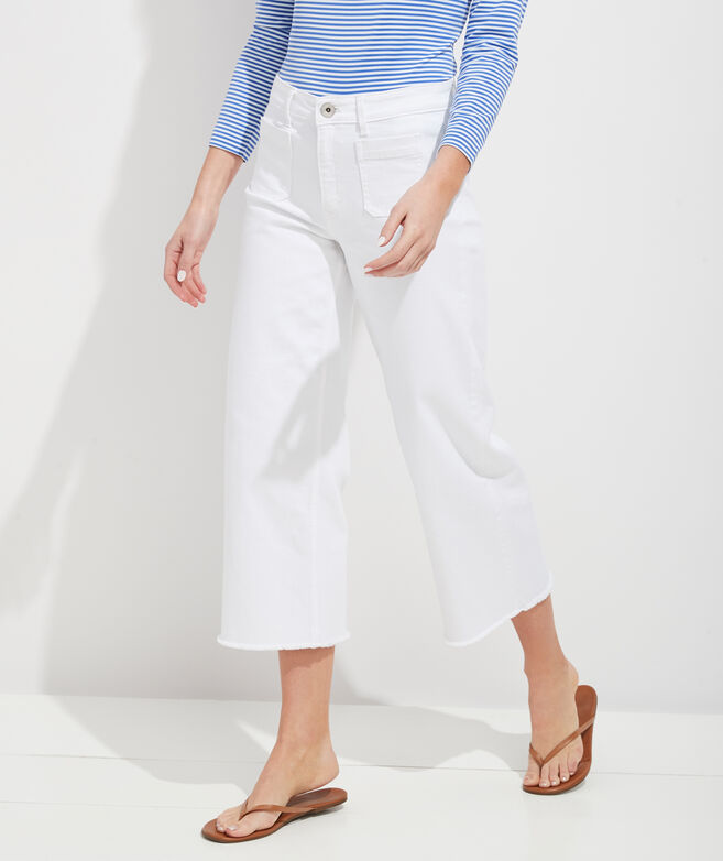 High Rise Wide Leg White Jeans