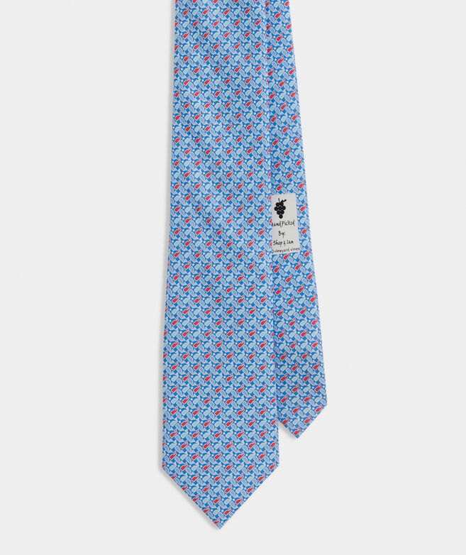 Tossed Whales and Stars Printed Tie