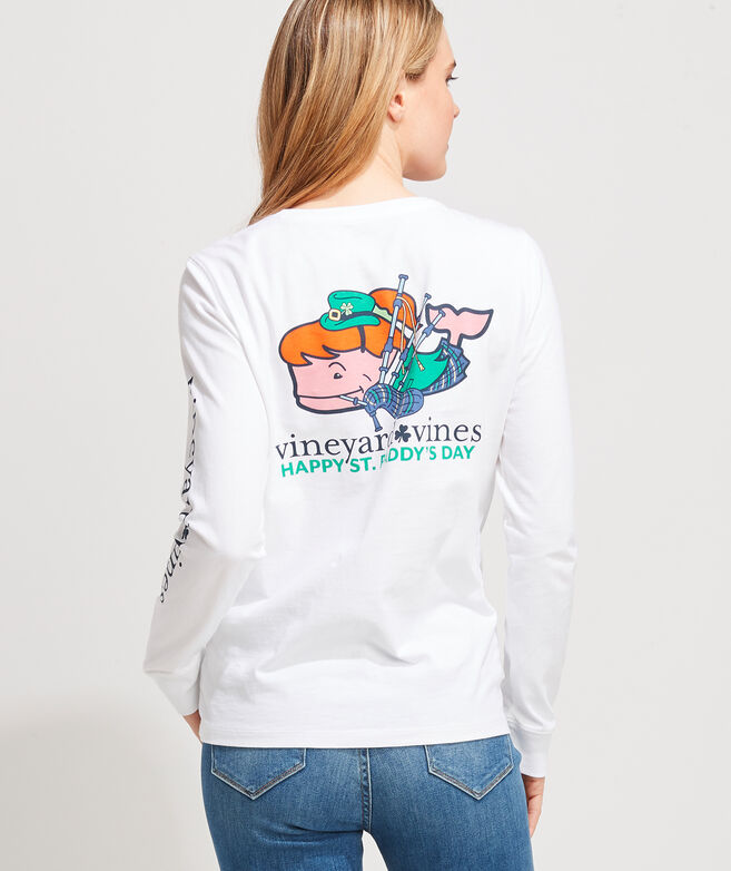 Long-Sleeve St. Paddy's Bagpiper Whale Pocket Tee