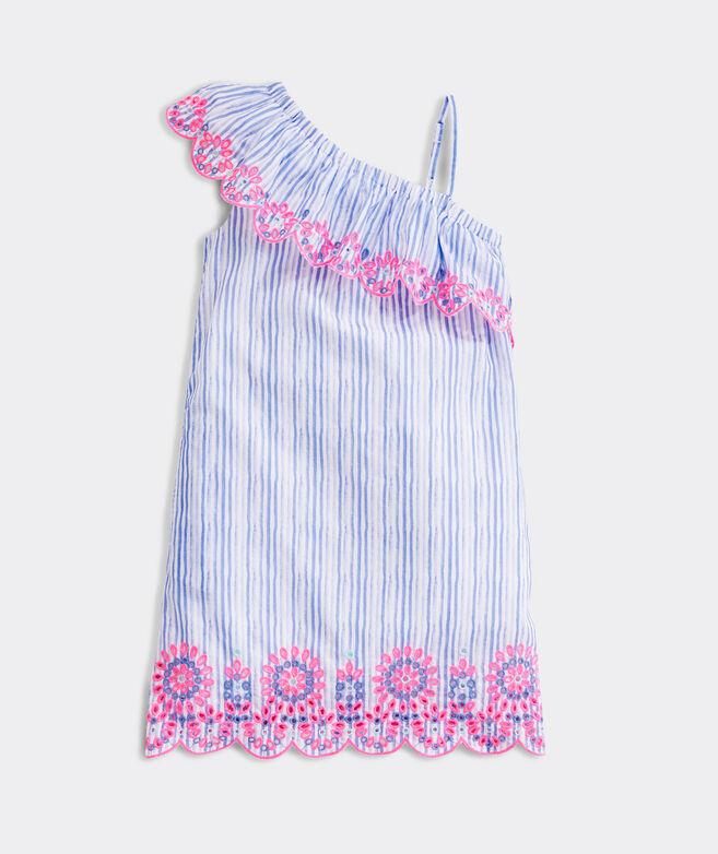 Girls' One-Shoulder Embroidered Dress
