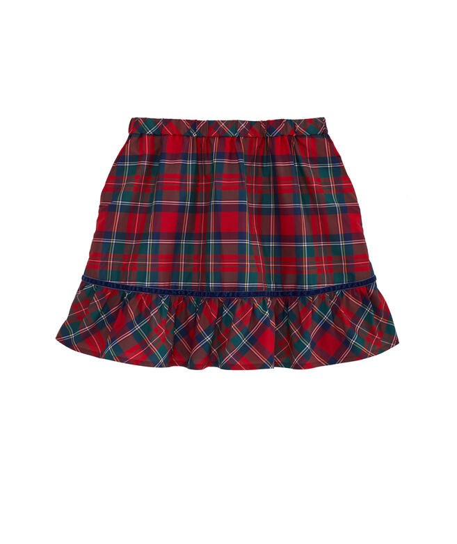 Girls Merry Plaid Taffeta Pull-On Party Skirt
