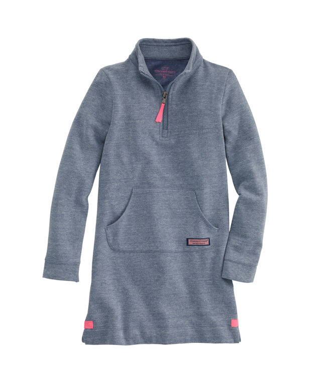 Girls Tri-blend 1/4 Zip Sweatshirt Dress
