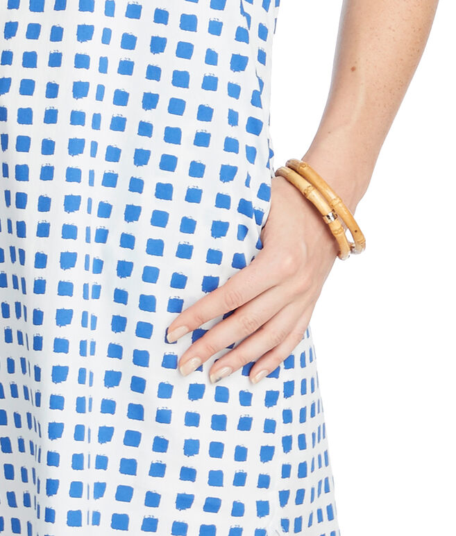 Painterly Grid Sleeveless Shirt Dress