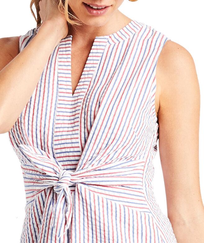 Firework Seersucker Tie-Front Dress