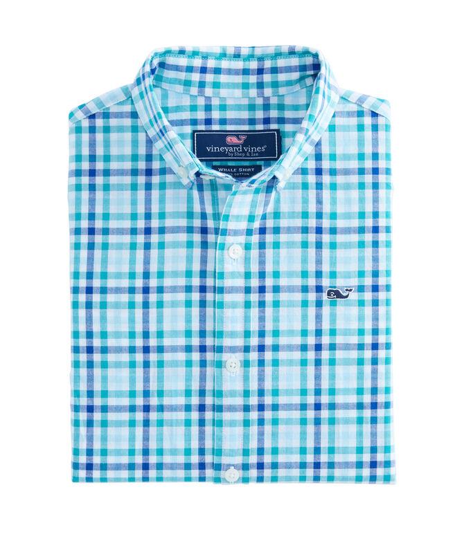 Boys Higgins Beach Gingham Poplin Whale Shirt