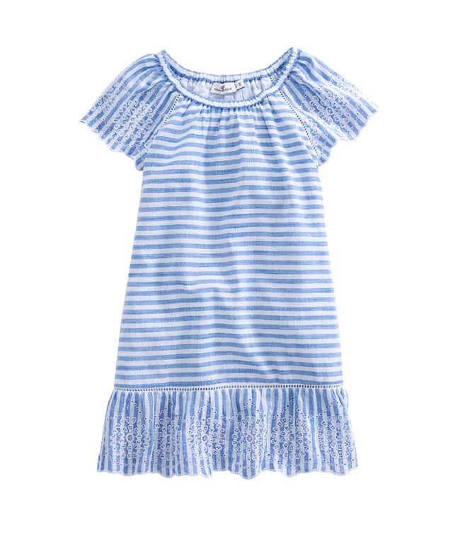 Girls Woven Stripe Eyelet Dress