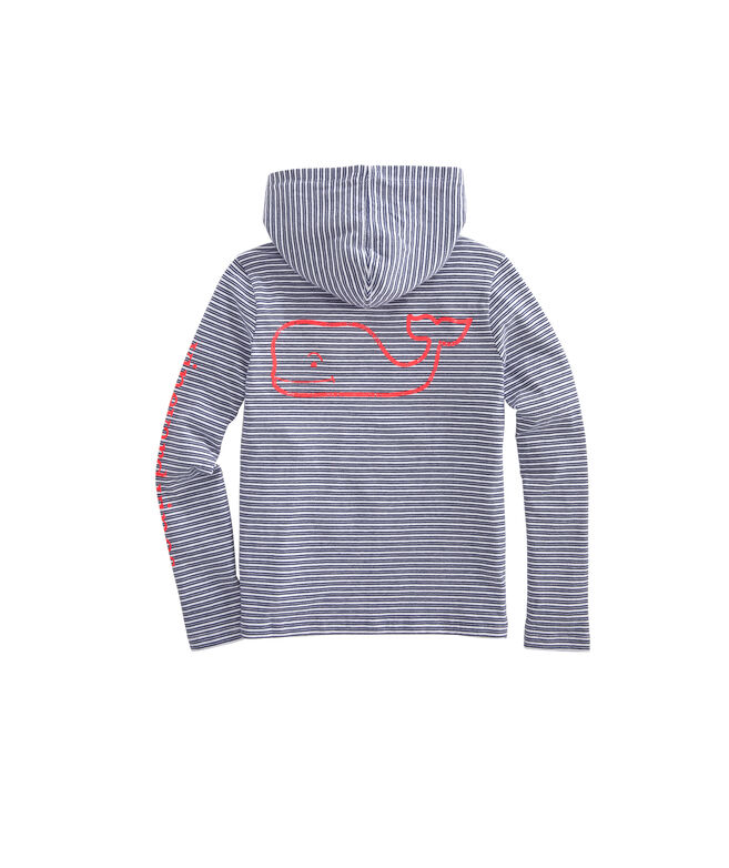 Girls Vintage Whale Calebs Stripe Long-Sleeve Hoodie Tee