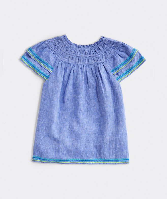 Linen Cross-Dyed Embroidered Top