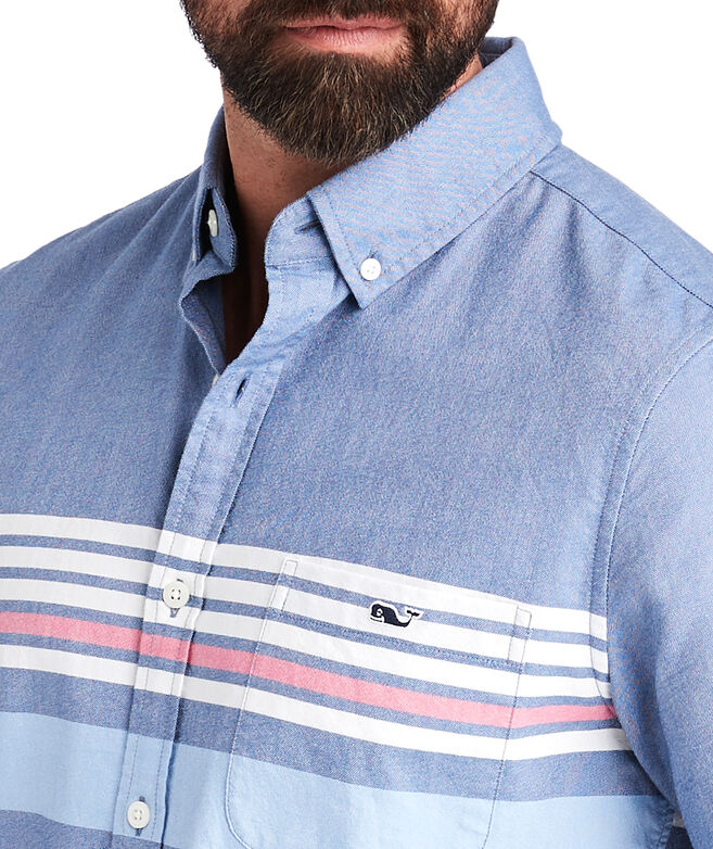Slim Short-Sleeve Sandy Stripe Tucker Shirt