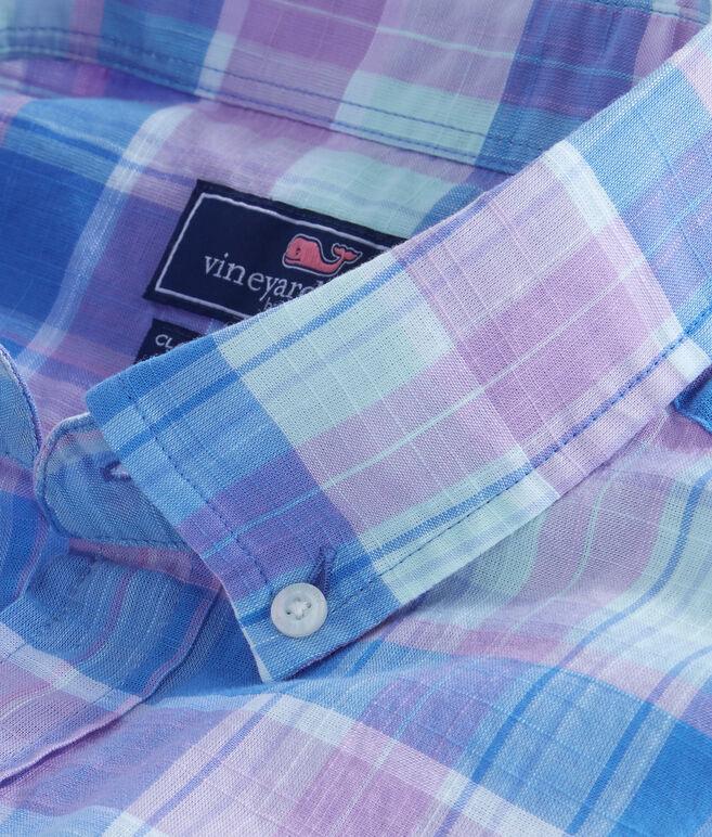 Short-Sleeve Lagoon Pond Plaid Classic Murray Shirt