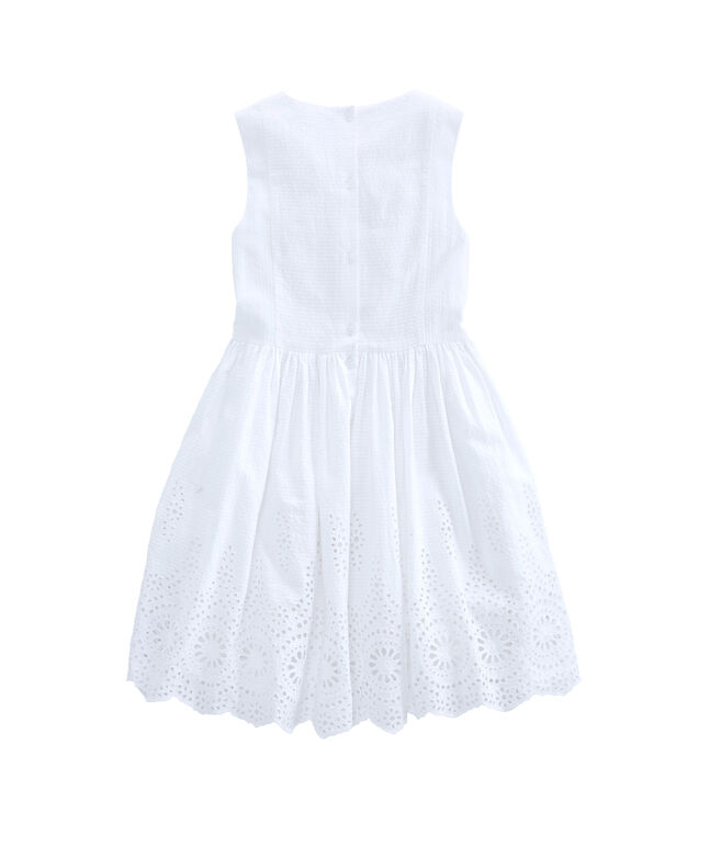 Girls Seersucker Eyelet Dress