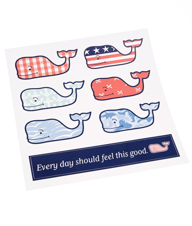 6-Pack Assorted Whale Stickers