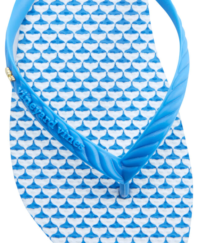 Printed Whale Tail Flip Flops