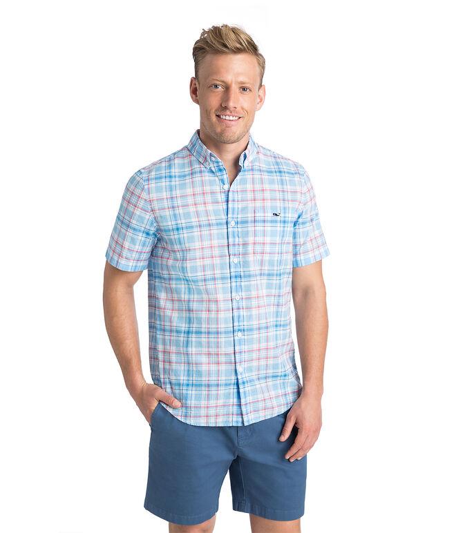 Short-Sleeve Fire Road Plaid Slim Tucker Shirt