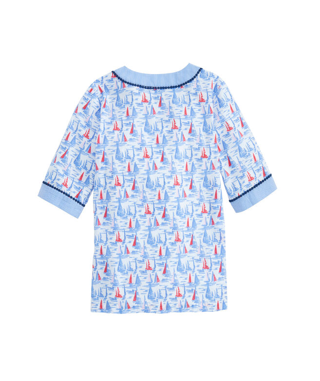 Girls Painted Sailboat Tunic Cover-Up