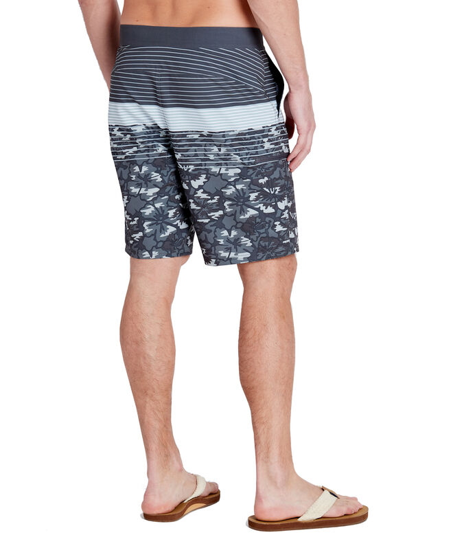 Gray Camo Stripe Stretch Board Shorts