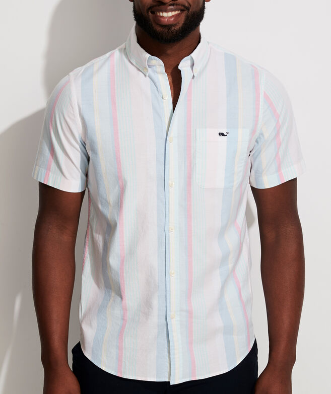 Slim Fit Bailey Stripe Short-Sleeve Tucker Button-Down Shirt