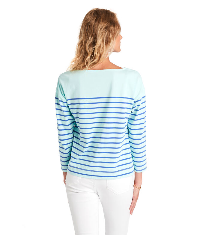Over-Dyed Striped Boatneck Top