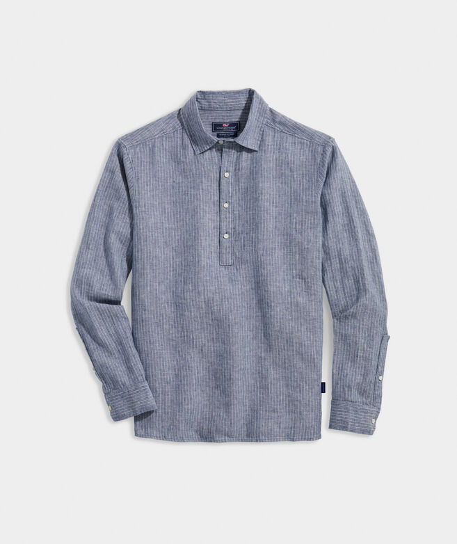 Linen Striped Popover Shirt