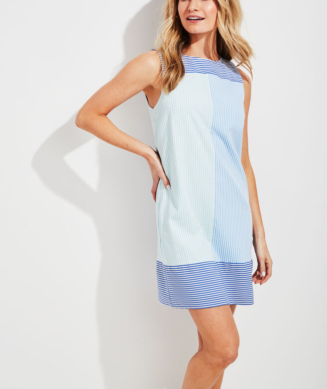 Seersucker Colorblocked Shift Dress