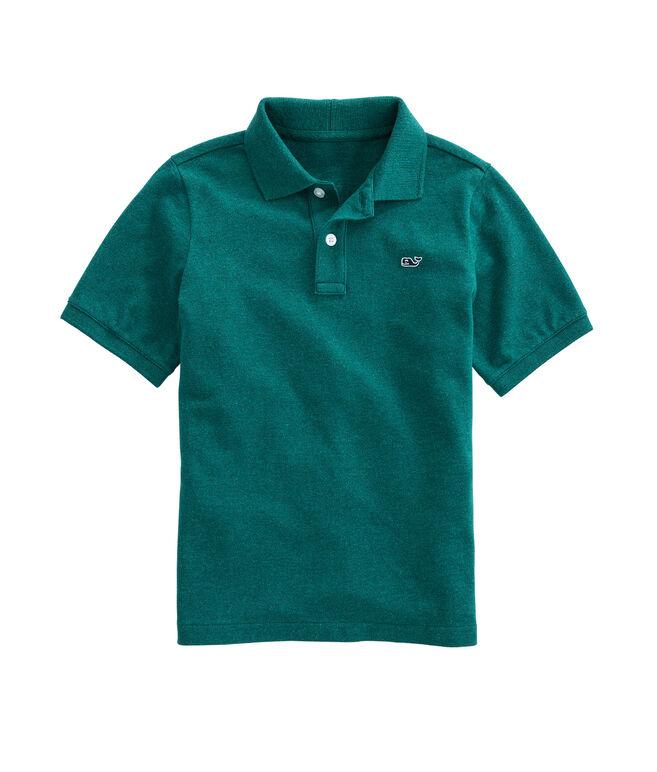 Boys Short-Sleeve Classic Heathered Pique Polo