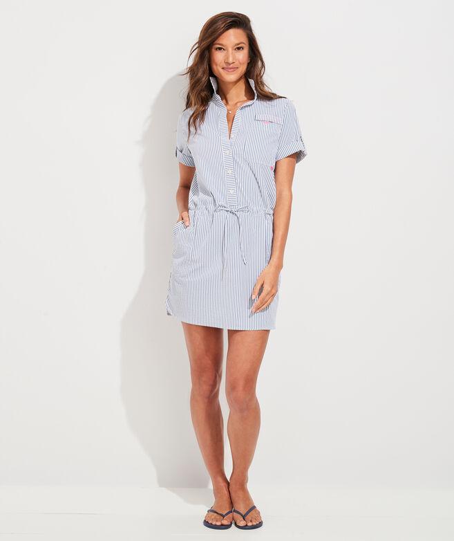 Vineyard Seersucker Harbor Shirt Dress Cover-Up