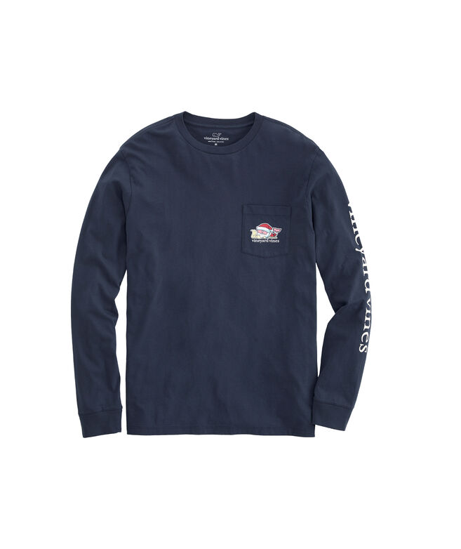 2019 Santa Whale Long-Sleeve Pocket Tee