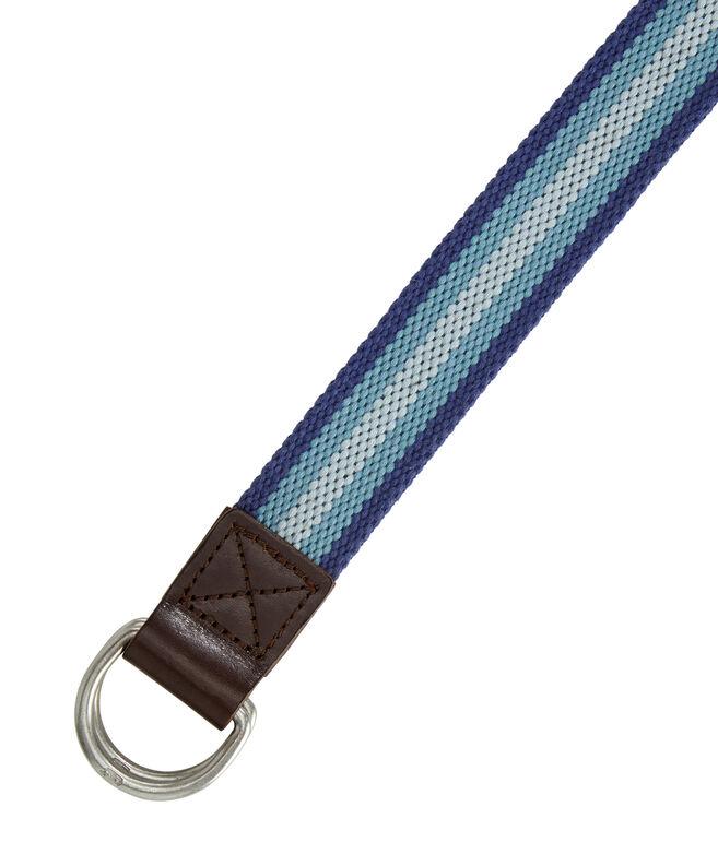 Boys Multi Stripe Canvas D-Ring Belt