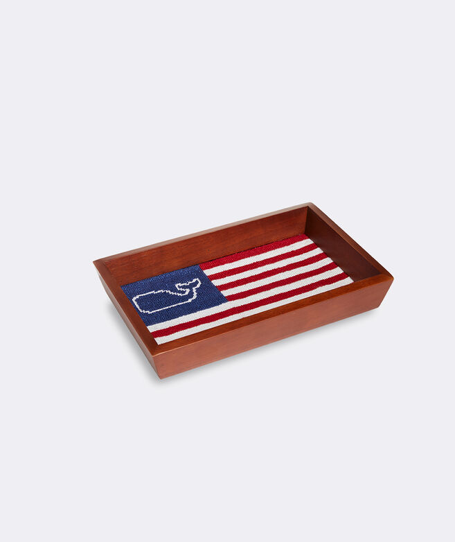 vineyard vines x Smathers & Branson Flag Whale Needlepoint Tray