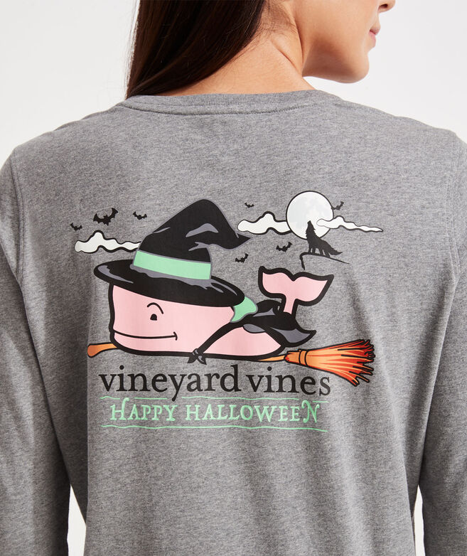 Women's Halloween Witch Whale Long-Sleeve Pocket Tee