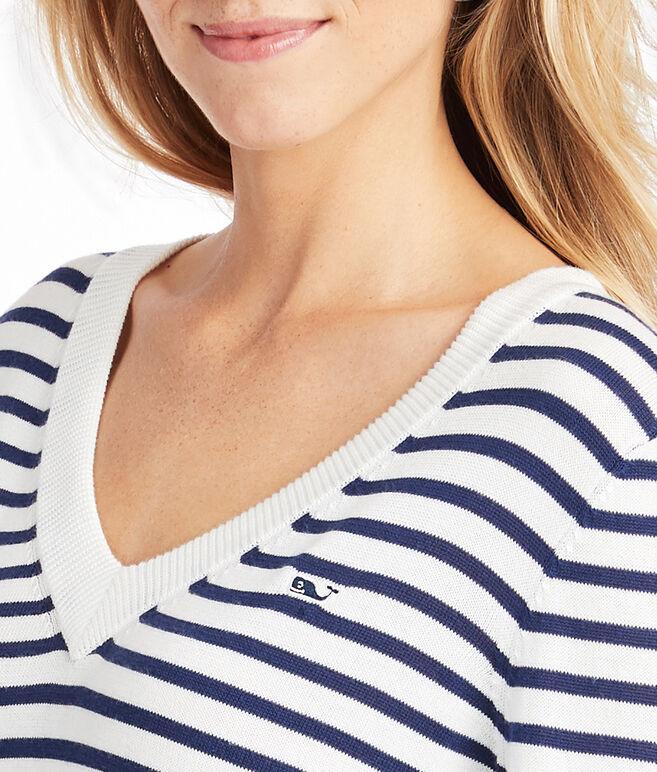 Heritage Cotton Striped V-Neck Sweater