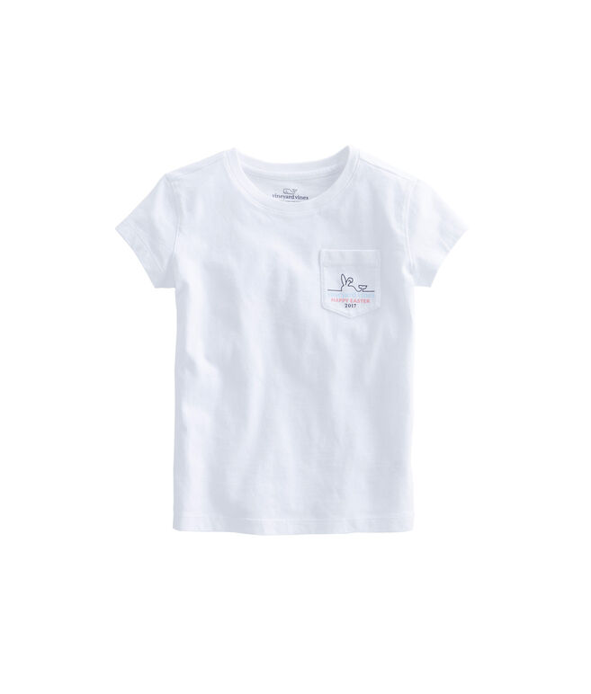 Girls Happy Easter 2017 Whale Line Pocket Tee