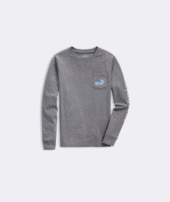 Boys' Downhill Ski Whale Long-Sleeve Pocket Tee