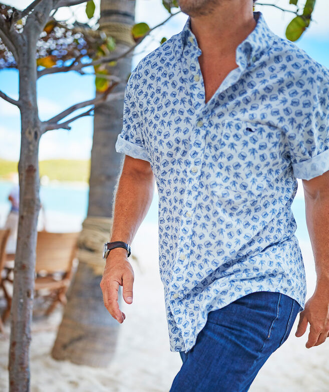Classic Fit Sliders Print Short-Sleeve Shirt in Stretch Cotton