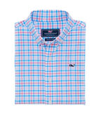 Boys Gulf Shore Gingham Performance Whale Shirt
