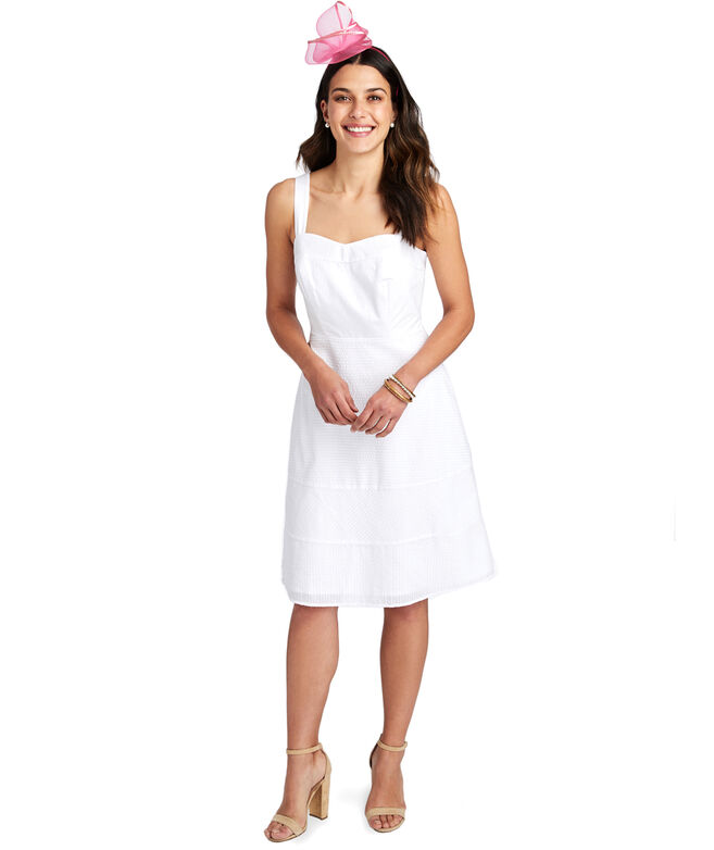 Seersucker Fit And Flare Dress
