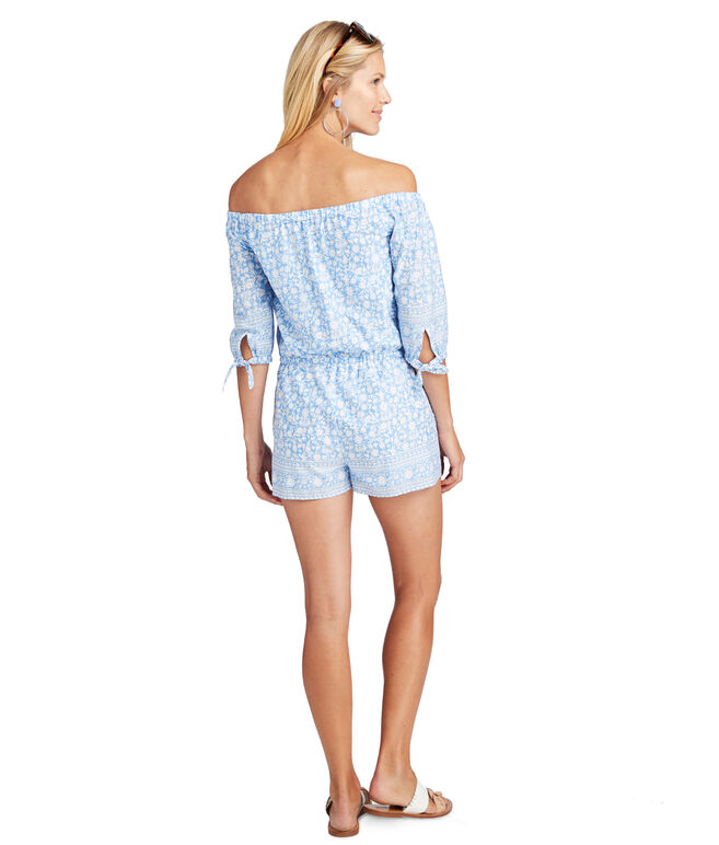 Off The Shoulder Otomi Printed Border Romper