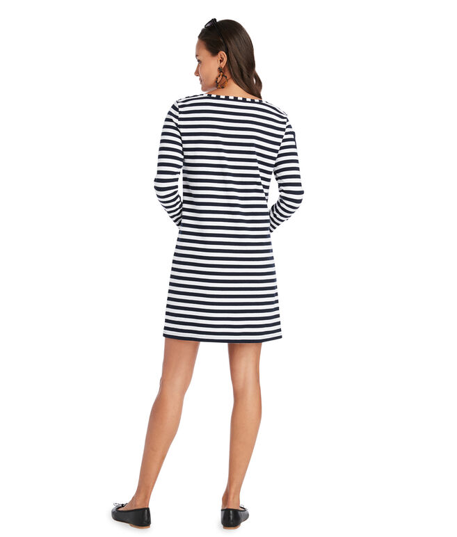 Long-Sleeve Stripe Knit Dress