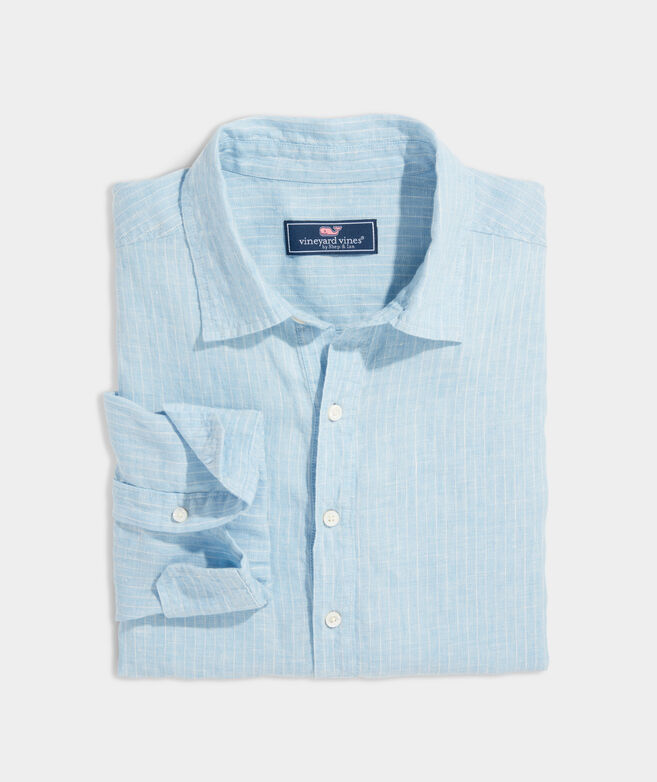 Classic Fit Stripe Popover Shirt in Linen