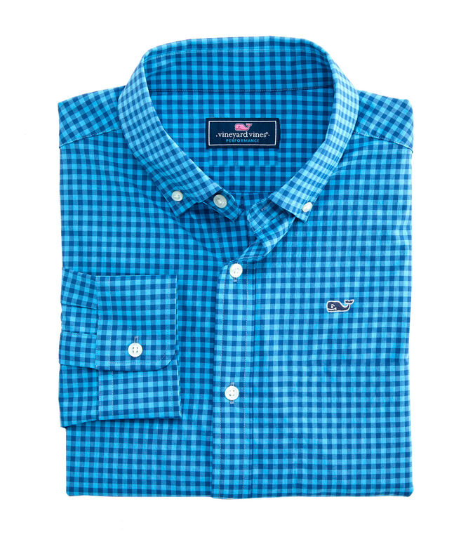 OUTLET Men's Color Gingham Performance Classic Whale Shirt