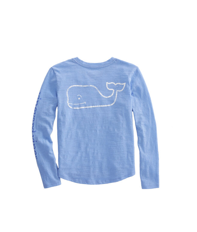 Girls Long-Sleeve Slub Whale Tee