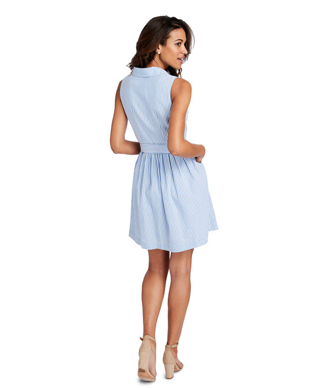 Seersucker Sleeveless Shirt Dress