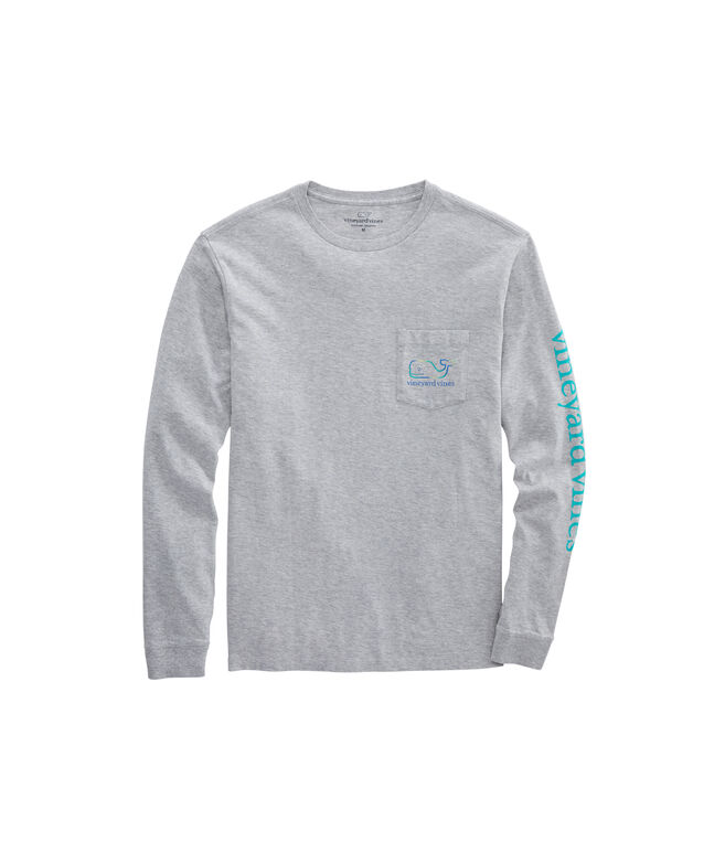 Three Tone Ombre Whale Long-Sleeve Pocket Tee
