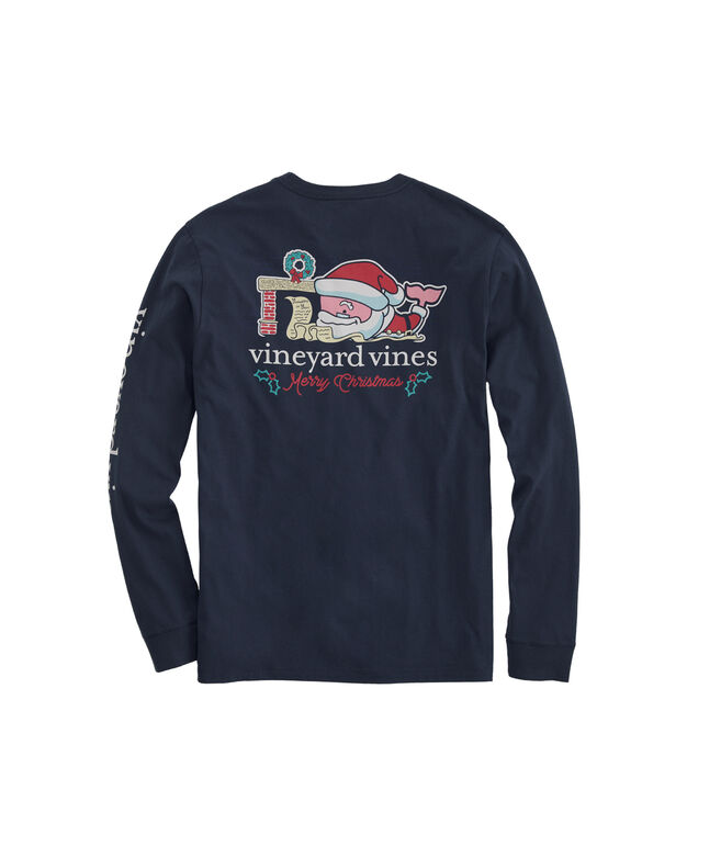 Big & Tall 2019 Santa Whale Long-Sleeve Pocket T-Shirt
