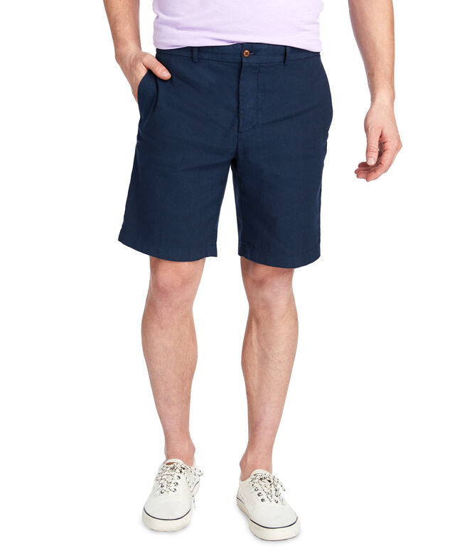 9 Inch Cotton Linen Greenwich Breaker Shorts