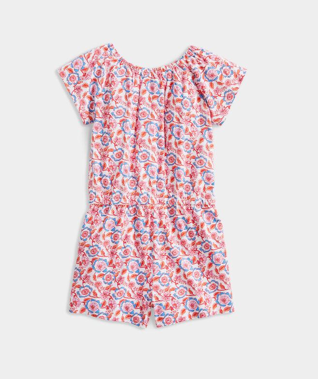 Girls' Frangipani Floral Flutter Sleeve Knit Romper